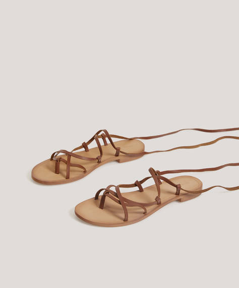 Tie-up leather sandals