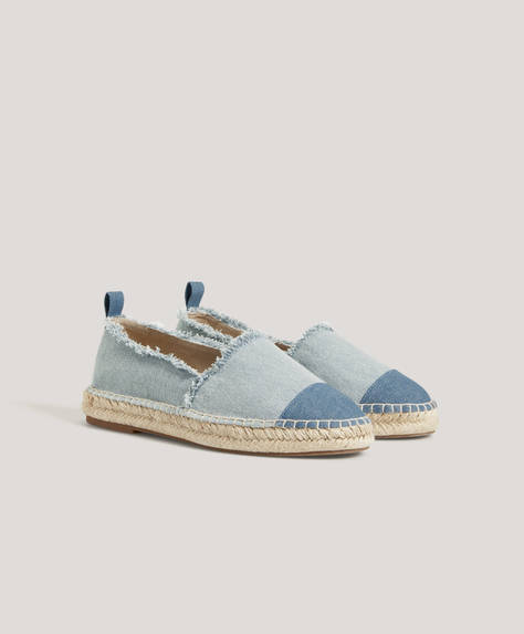 Frayed denim espadrilles
