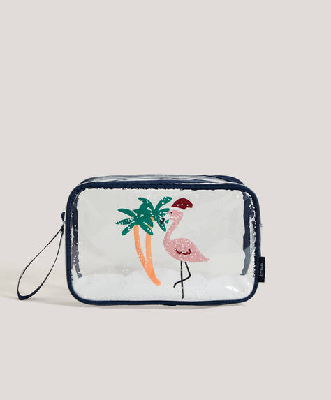 Christmas flamingo wash bag