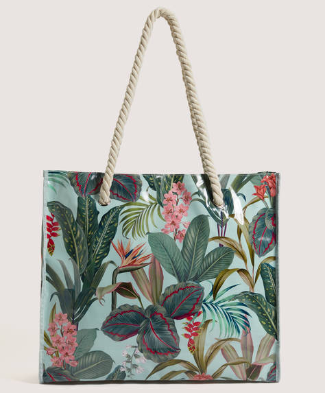 Tropical print shopper