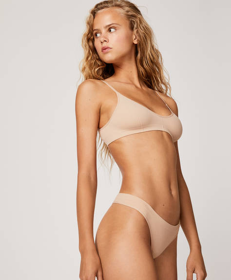 Seamless wide-strapped thong