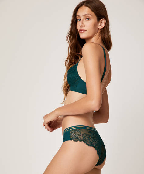 Lace and elastic hipster briefs