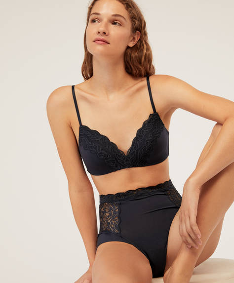 Modal and lace high-waisted briefs