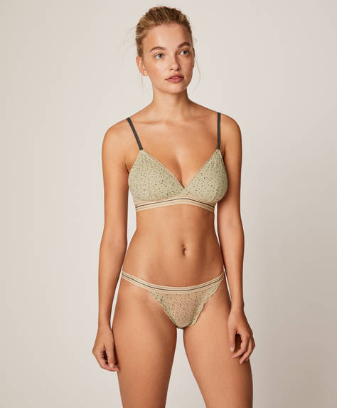 Flocked dot strappy Brazilian briefs