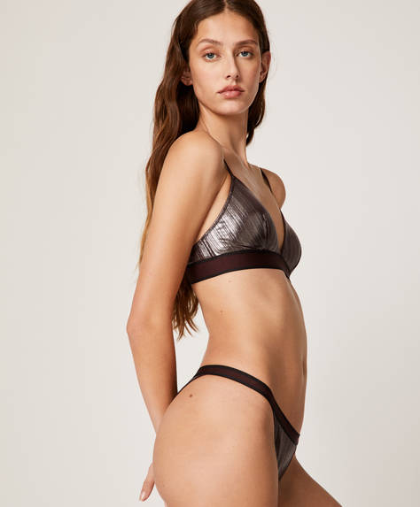 Metallic-effect Brazilian briefs
