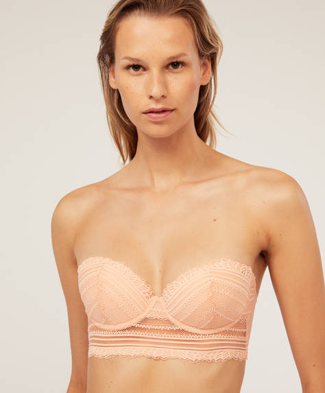 Strapless bra with sweetheart neckline