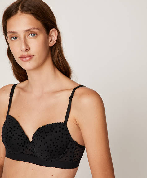 Flocked dot push-up bra