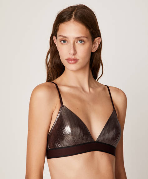 Metallic-effect triangle bra