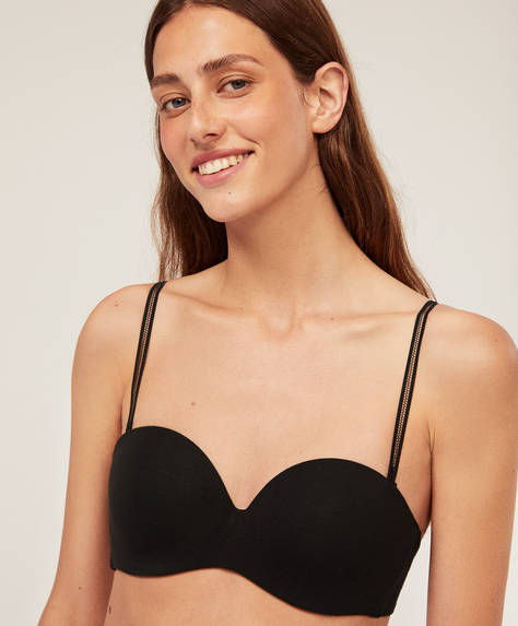 Cotton strapless bra