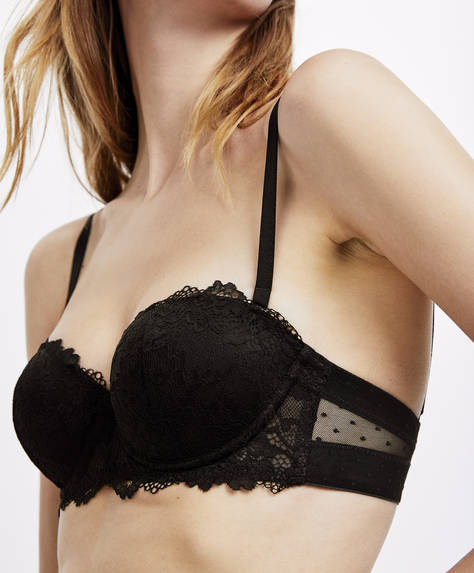 Essential Lace push-up bra with removable straps