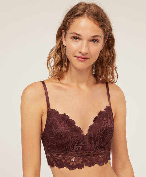 Floral lace triangular bra