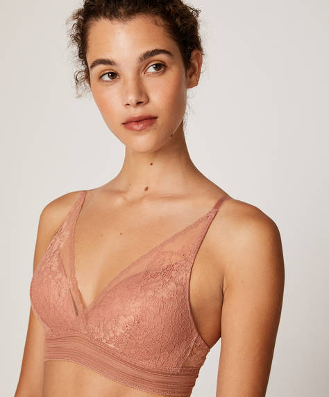 Floral lace stretch triangle bra