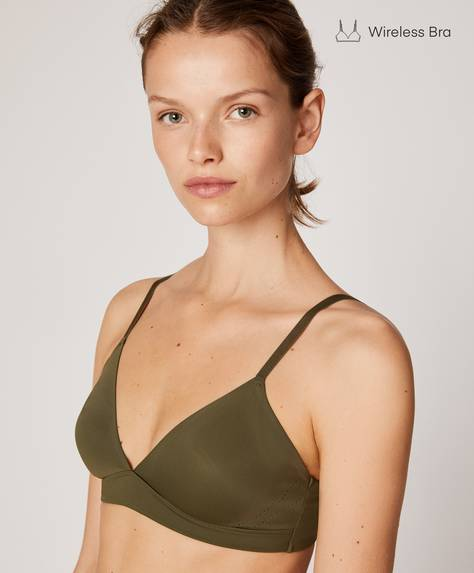 Microfibre non-wired triangle bra with cutwork