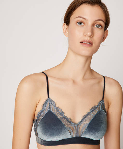 Non-wired velvet and lace bra