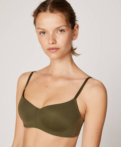 Extra-comfort microfibre bra with cutwork