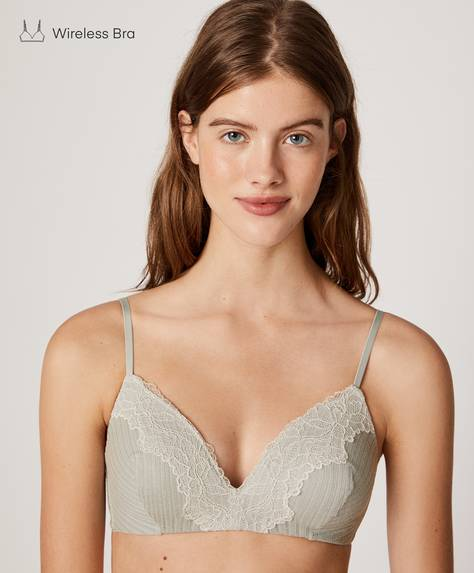 Non-wired open-knit cotton bra