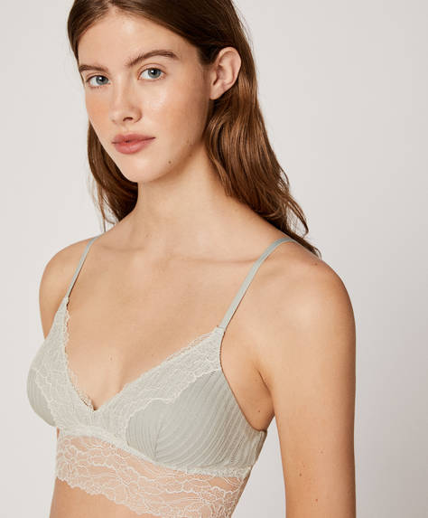 Open-knit cotton bralette with removable cups