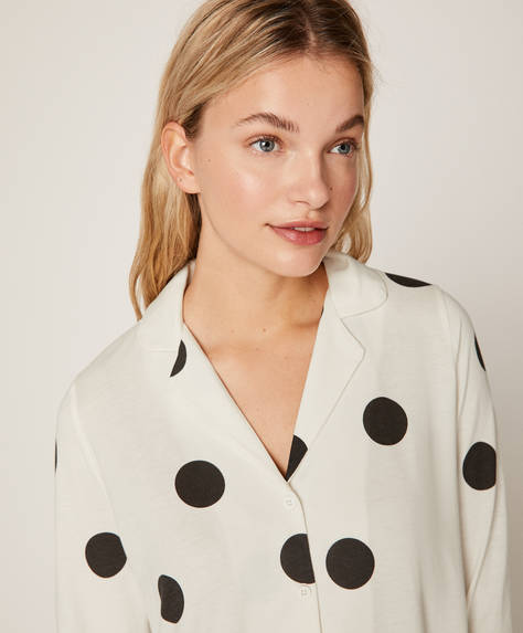 Large black polka dot shirt