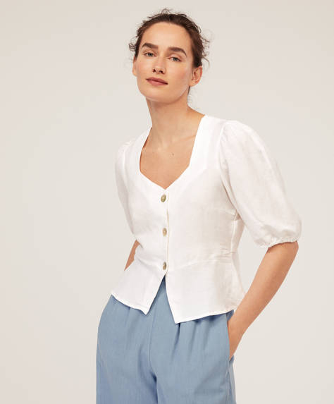 Puff-sleeve linen shirt