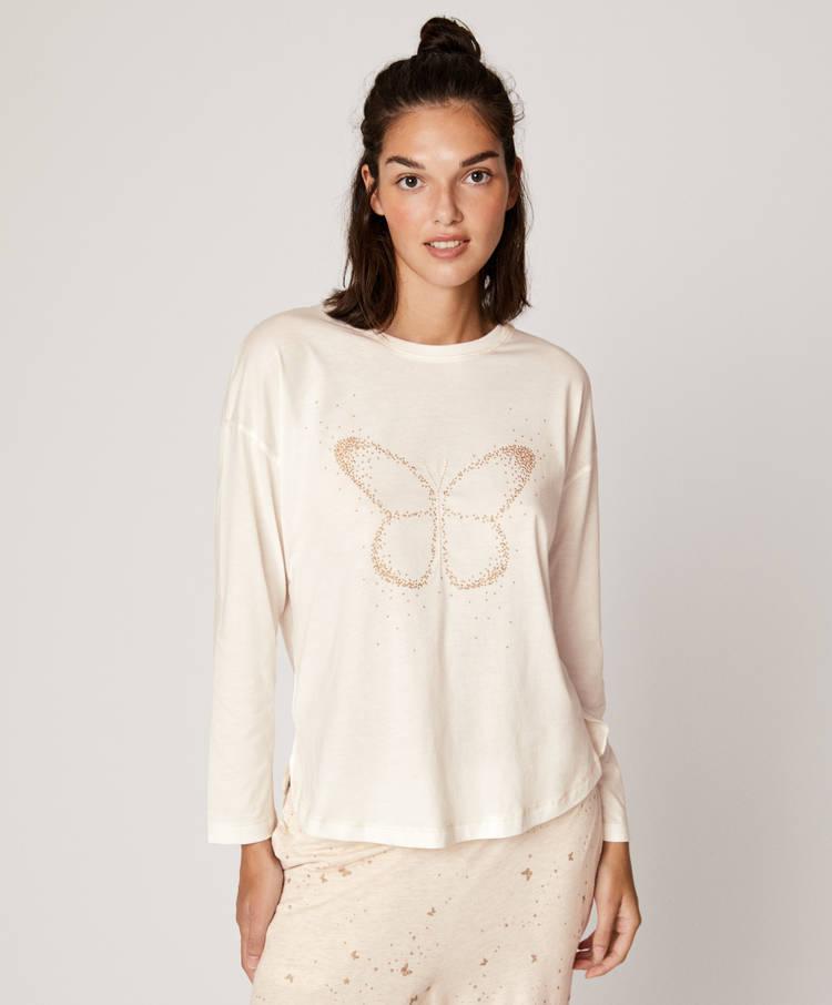 check out 4eb10 af500 Maglietta a maniche lunghe con farfalla dorata