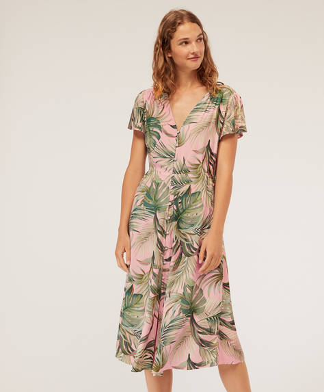 Tropical nightdress with pink background