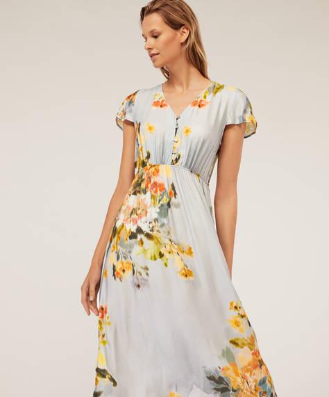 Chemise de nuit à fleur en cretonne bleue