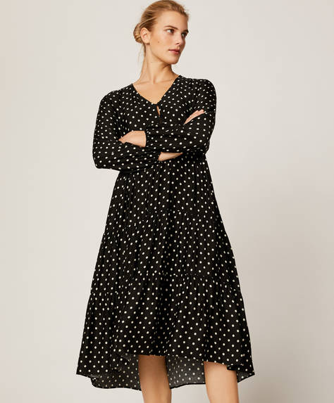 Polka dot nightdress with black background