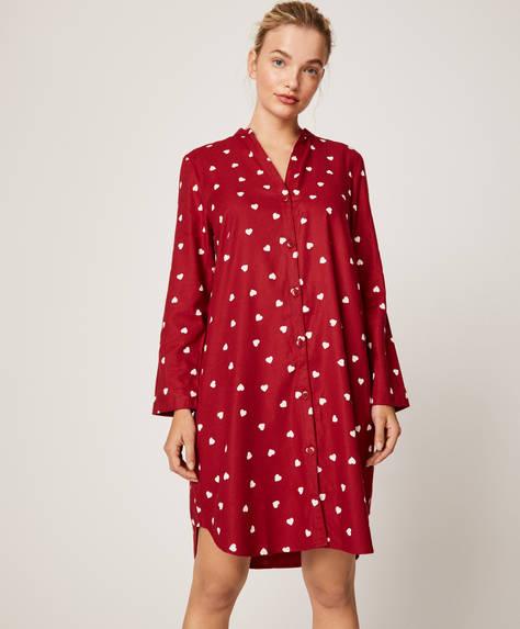 Camicia da notte rossa con cuori