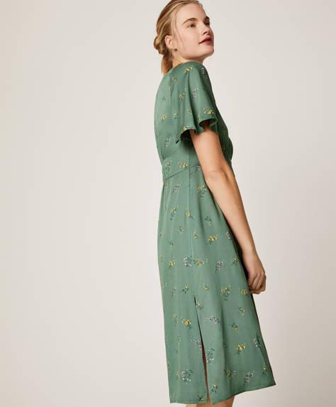 Зеленое домашнее платье с цветочным принтом