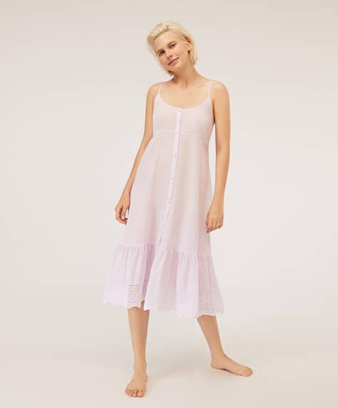 Camicia da notte lavanda con ricamo