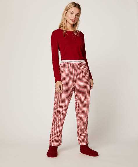 Red gingham check trousers