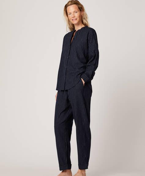 Dark pinstripe trousers
