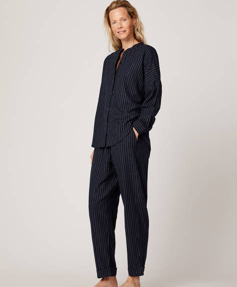 Dark pinstripe trousers