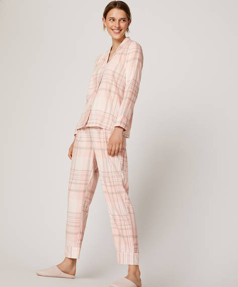 Pantalon à carreaux rose clair