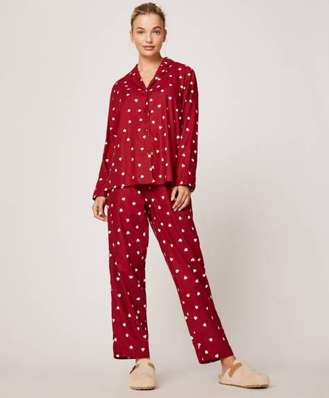 Pantalon rouge à cœurs