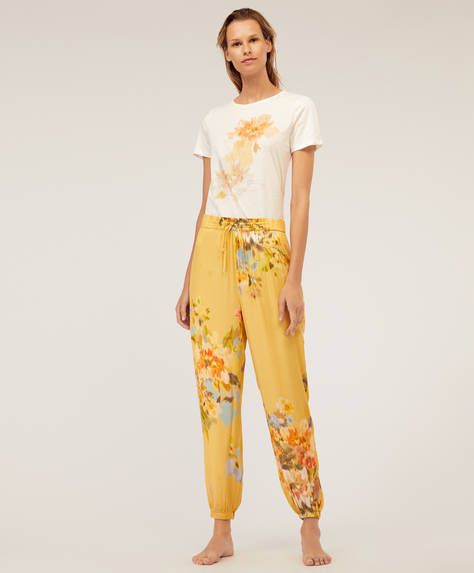 Pantalon fleur tropicale en cretonne jaune