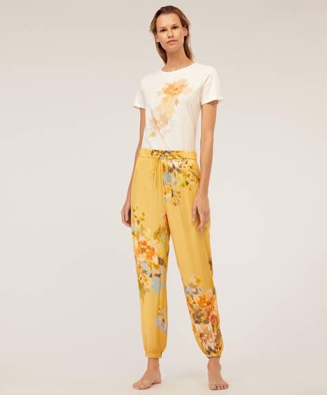 Pantaloni din creton galbeni cu flori