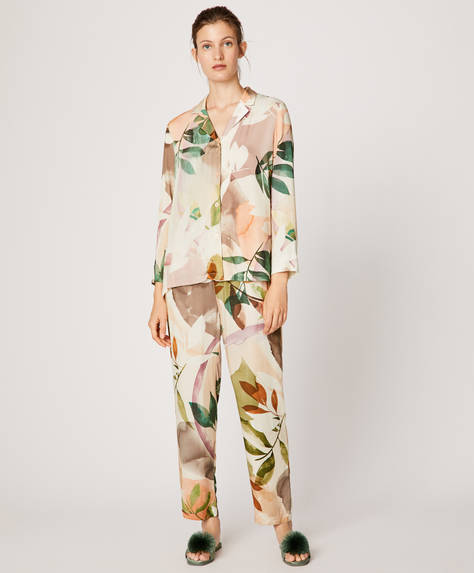 Watercolour leaf trousers