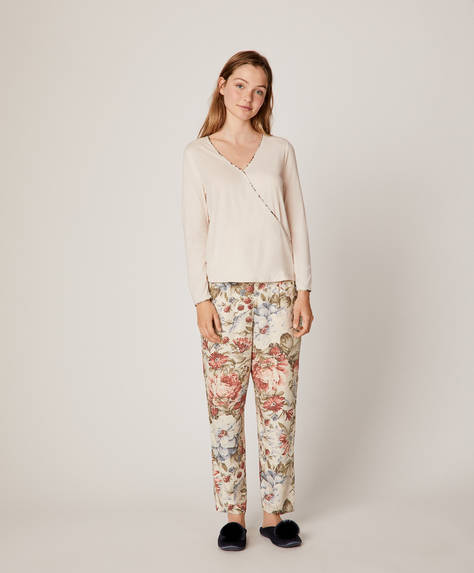 Grey and blue floral trousers