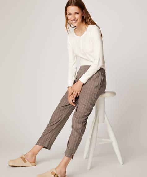 Γκρι βαμβακερό παντελόνι με λεπτή ρίγα