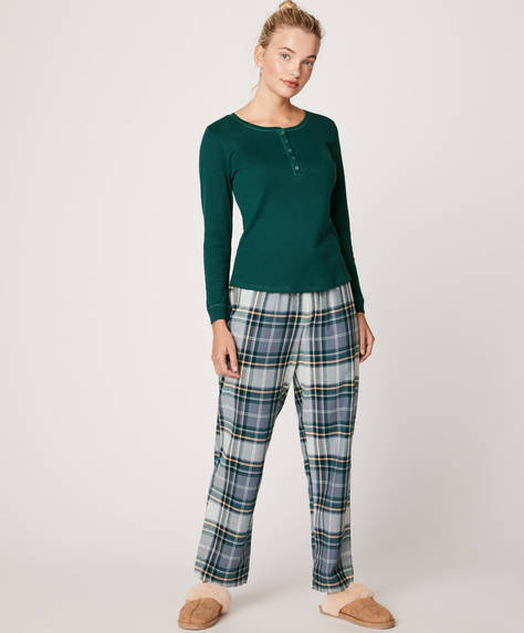 Blue and white check trousers