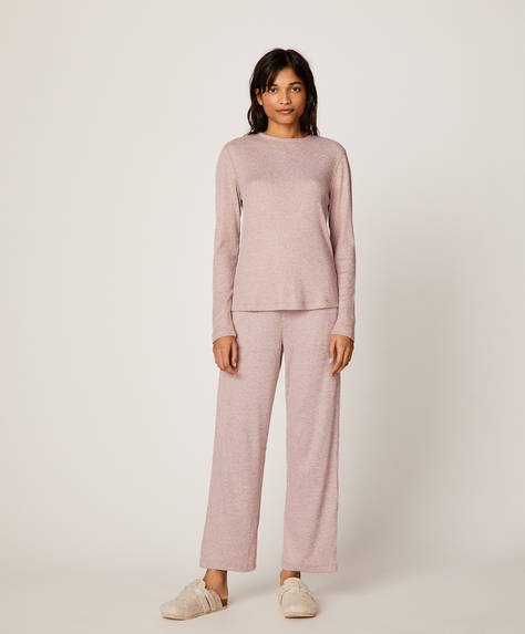 Soft touch wide-leg ribbed trousers