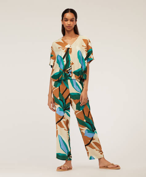 Emerald floral trousers