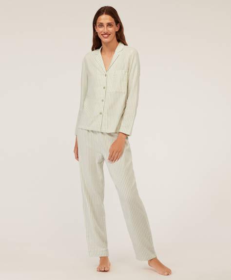 Ριγέ πράσινο 100% βαμβακερό παντελόνι
