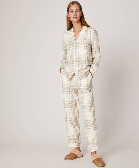 Ecru check trousers