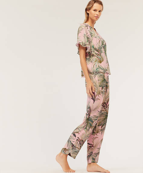 Tropical trousers with pink background