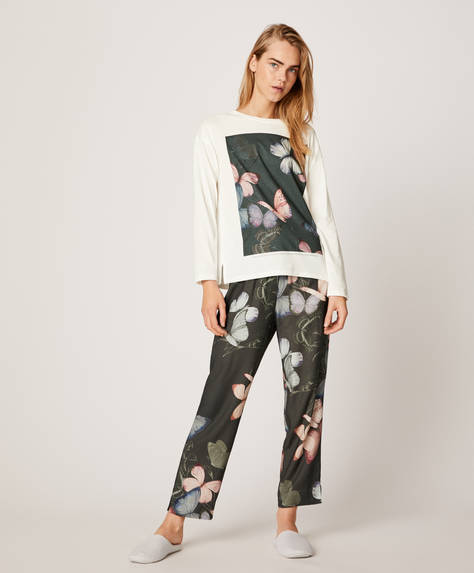 Butterfly-print trousers