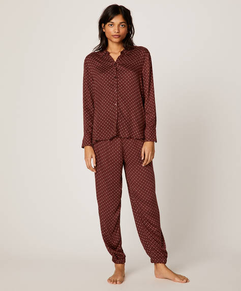 Polka dot trousers with burgundy background