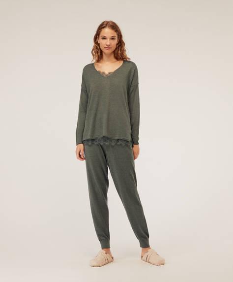 Long knit trousers