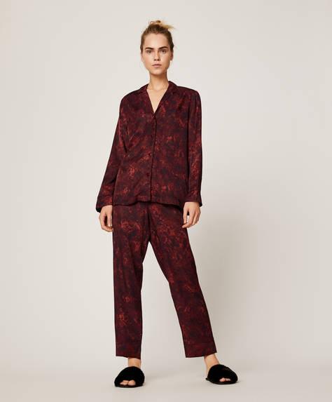 Burgundy snake print trousers